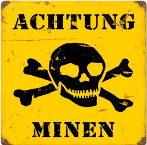 Achtung Minen rusted metal sign  (pst 1212)